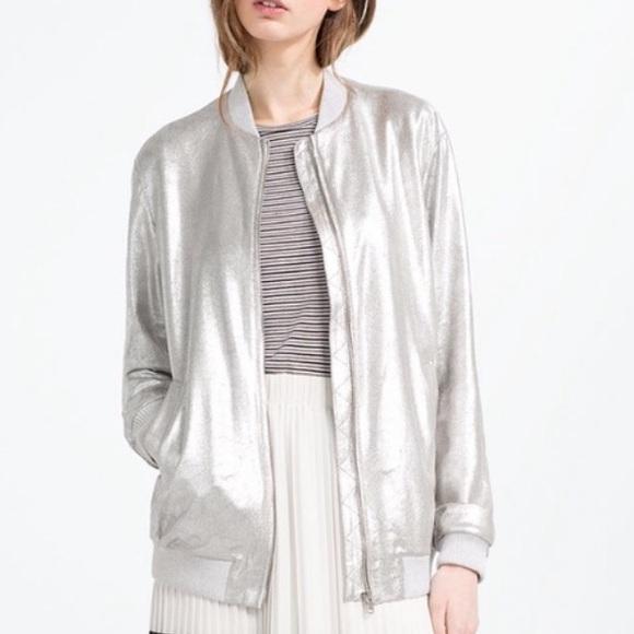 4cfdd6bc Zara Jackets & Coats | Metallic Silver Bomber Nwt | Poshmark